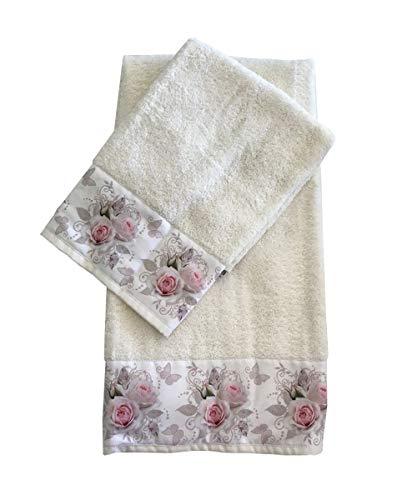 Par de toallas de baño de color liso y estampado de flores de rizo de algodón, 1 cara y 1 invitados, juego de toallas 1 + 1 fabricado en Italia, impresión digital Si raso de algodón (4)