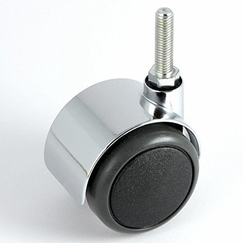 Möbelrolle Chrom ø 50 mm Gewinde M8 x 30 ohne Bremse mit PU-Bereifung grau spurlos für harte Böden Hartbodenrolle