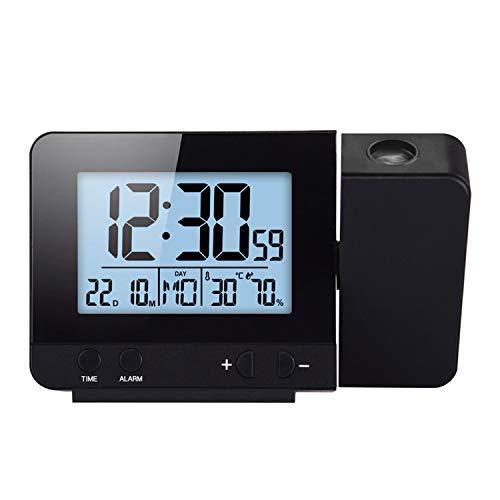 Konesky Reloj de proyección Digital, atenuador Reloj Despertador Hora Reloj Protector de Temperatura con función de repetición Reloj de Humedad Batería USB (Dimmer B)