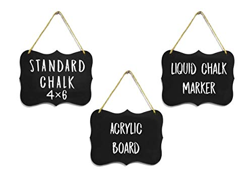 """Small Chalkboard Hanging Signs Acrylic 4x6"""" - Double Sided for Standard Chalk & Other Side for Liquid Chalk Marker- Memo Message Sign - Small Blackboard - for Crafts - Menus - Florists - Events (3)"""