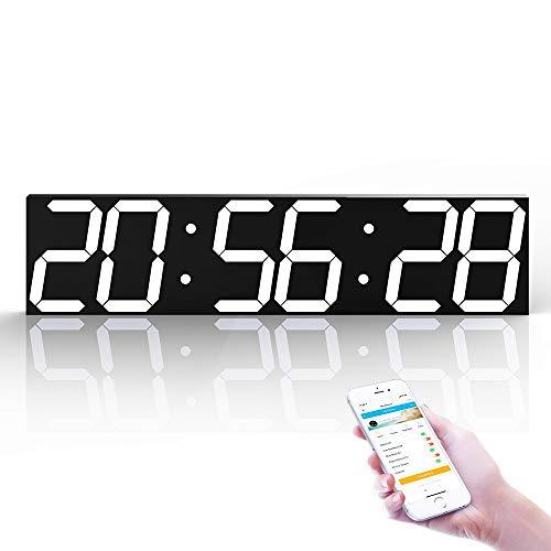 LG Snow Reloj De Pared LED Digital De 6 Dígitos, Reloj Creativo WiFi Multifunción, For El Hogar/Exterior/Público (69.5 * 16 * 2CM) (Color : White)