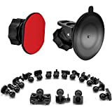 SoeKoa Dash Cam Suction Cup Mount and Adhesive Mount 360 Degree Swivel Suction Cup Holder Bracket, 16 Different Adapters, VANTRUE, Silintion, APEMAN, YI, Anero, Chortau, MILKFAT, Muson, 2 x Adhesive Double-Sided Adhesive Tape, 3 x Wipes (both dry and wet)