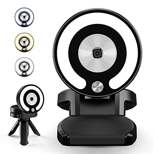 USB Webcam mit Mikrofon, 2K HD Ringlicht Streaming Webcams für PC Web Kamera Autofokus Webcam für Videotelefon tudium, Gaming, Online Kurse