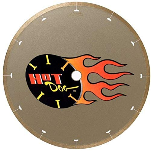"""MK Diamond 158436, MK-225 Hot Dog, Wet Cutting Continuous Rim Diamond Saw Blade with Arbor for Porcelain and Vitreous Tile, 10"""" L"""