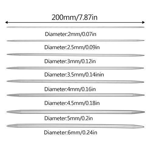 Smilcloud 40 Agujas de Tejer Rectas, Agujas de Tejer Rectas Cortas de Doble Punta de Acero Inoxidable, Que se Utilizan para Encajes de Suéteres y Prendas de Tejer Gorro (2 mm a 6 mm)