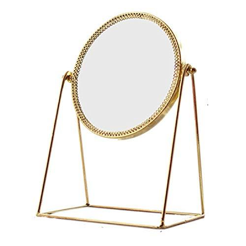 JFCXBSSL Miroir de maquillage rond lumineux rétro en métal de luxe