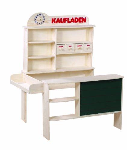 roba Butiker, barn köpmansbutik, naturligt trä, försäljningsläge med 4 lådor, klocka, tavla, disk och sidodisk