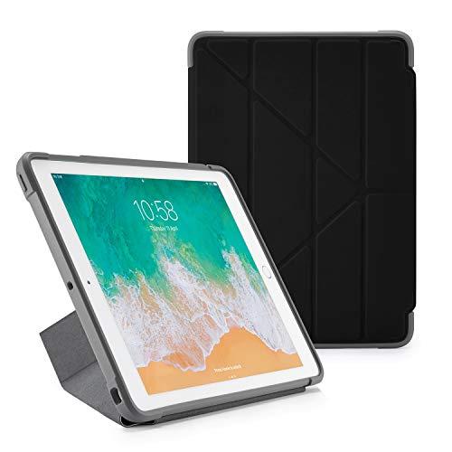 Pipetto Funda para iPad Origami Shield de 9,7 Pulgadas (2017/2018) Compatible con 5ª y 6ª generación y Air 1   Resistente a los Golpes con Soporte 5 en 1 y función de Encendido automático - Negro