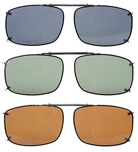 Eyekepper Wide Lens 3-pack Clip-on Polarized Sunglasses