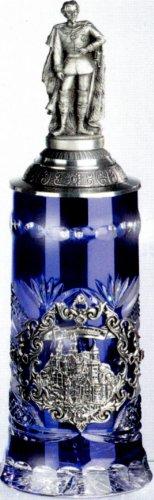Jarra de cerveza de cristal lado/triple - Neuschwanstein König Ludwig tapa - King Ludwiglid - cerveza, Beer Mug - con tapa de estaño 97% edición limitada