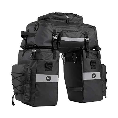 BAIGIO Fahrradtasche 3-in-1 Multifunction wasserdichte Gepäckträgertasche 75L Radfahren Gepäckträger Tasche Fahrrad Reisetasche mit Regenschutz, Herren(Schwarz
