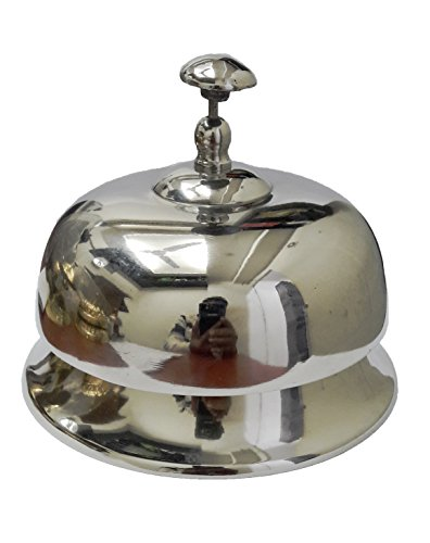 """PARIJAT HANDICRAFT Hand Held Service Call Bell 5.5"""" D .Call Bell Ideal Gift for Home Office, School, Teacher, Nautical, Aluminium Desk Bell"""