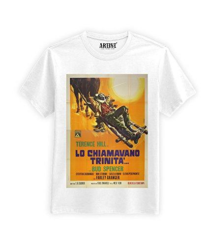 ARTIST T-Shirt Lo chiamavano Trinità Bud Spencer Terence Hill (L, Bianco)