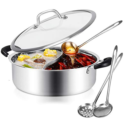 Hot Pot with Divider Stainless Steel Shabu Shabu Pot for