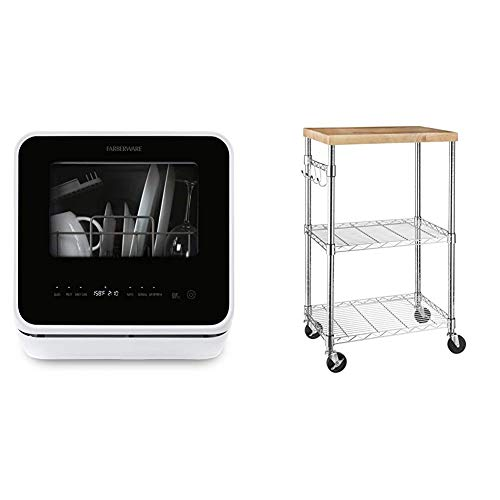 Farberware FDW05ASBWHA Complete Portable Countertop Dishwasher with 5-Liter Built-in Water Tank, 5 Programs & Fruit Wash-White & AmazonBasics Kitchen Rolling Microwave Cart on Wheels, Wood/Chrome