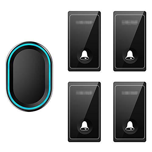 Zelfaangedreven draadloze deurbel, waterdichte draadloze draadloze deurbel, afstandsbediening met 4 knoppen en 1 plug-in ontvanger met 58 geluidssignalen, volume op 4 niveaus en LED-verlichting,Black