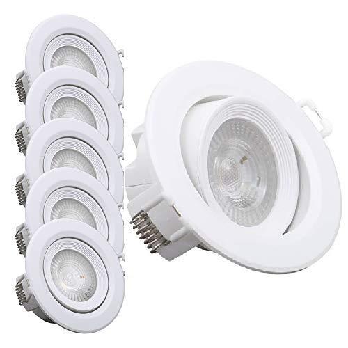 B.K.Licht I 5er Set schwenkbare LED Einbauleuchten I Schwenkbar I Inkl. 5x 4W LED-Module I 5 x 350lm I 3000K warmweiße Lichtfarbe I LED Einbaustrahler | Weiß