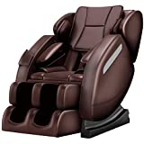 Zero Gravity Full Body Massage Chair Recliner Built-in Bluetooth Neck Shoulder Back Waist Foot Roller Lower-Back Heating (Brown)