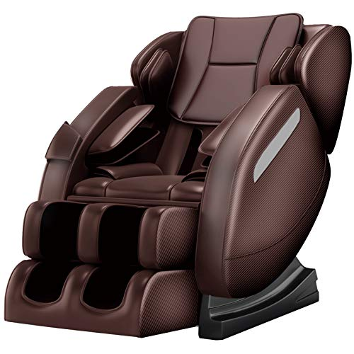 Zero Gravity Full Body Massage Chair Recliner Built-in Bluetooth Neck Shoulder Back Waist Foot Roller Lower-Back Heating (Brown)