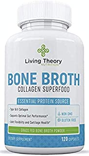 Bone Broth Capsules - Organic & Grass-Fed Collagen Capsules Organic Bone Broth Protein Powder - Multi Collagen Supplement - Healthier Hair, Teeth, Joint & Pure Hydrolyzed Collagen Peptides Gut Health