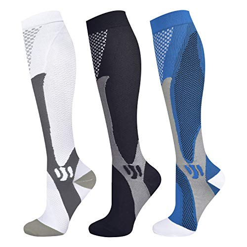 Blahhey 3 Pairs Compression Socks for Women & Men 15-25 mmHg Comfortable Fit Athletic Knee High Compression Socks for Nurses Sport Running Travel (XXL)