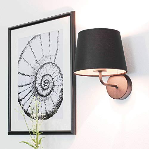 Wandleuchte Schwarz Stoff Schirm Trichter Metall Gestell Bauhaus Design Schlicht E27 Flurlampe Wandlampe
