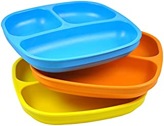 Re-Play Made in USA 3pk Divided Plates with Deep Sides for Easy Baby, Toddler – Sky..