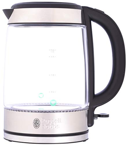 Russell Hobbs 21600-10 Illuminating Glass Kettle, Black, 1.7 Litre, 3000 Watt