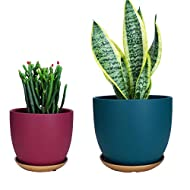 """Ceramic Garden Plant Pots Modern Planters Flower Pots with Drainage Hole and Saucers for Indoor/Outdoor Money Tree, Succulent, Palm Tree, Orchid, Sansevieria Trifasciata 7""""+ 5.5"""""""