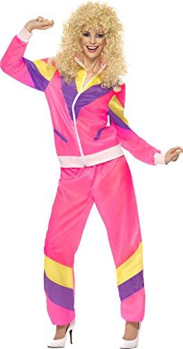Smiffy's Smiffys-39660M Disfraz de chándal años 80, con Chaqueta y pantalón, Color Rosado, M - EU Tamaño 40-42 39660M
