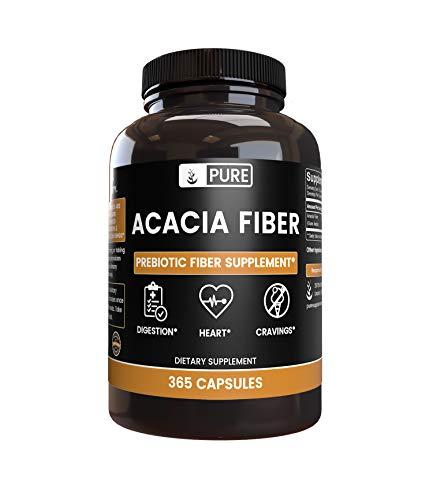 Acacia Fiber (365 Capsules) 100% Pure & Natural Soluble Fiber, Non-GMO & Gluten-Free, Made in USA (2000 mg Serving)