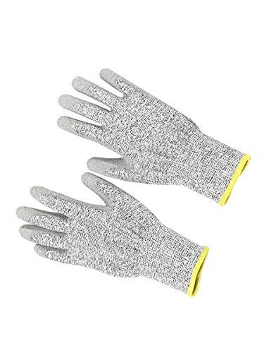 CWXDIAN Handschuhe Anti-Rutsch-Stichschutz-Schnittschutz-Gartenhandschuhe verschleißfeste, atmungsaktive Multifunktionshandschuhe mit Anti-Streifen-Funktion, gelbe Kanten, Einteiler