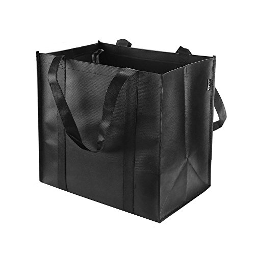Reusable Grocery Tote Bags (6 Pack, Black) - Hold 44+ lbs -...