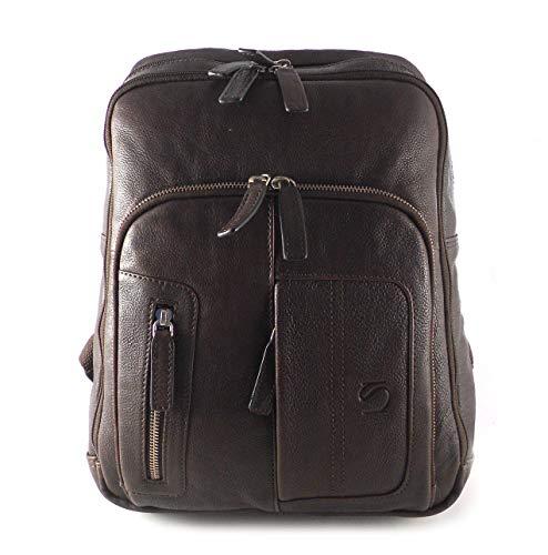 Mochila Hombre Piel Vacuno con Funda para portátil Mochila MATTIES Bags Cuero Hombre con Cremalleras marrón Oscuro