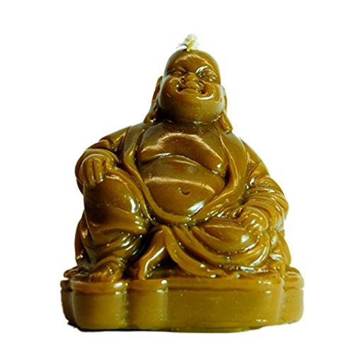 Candle Art Vela Buda, Vela esotérica. Aporta Buena Suerte en Todos los Niveles. Color Natural, Cera de Abeja con Plantas, Ritualizada. Medidas. Alto: 11 cm. Peso: 0.235 Kg