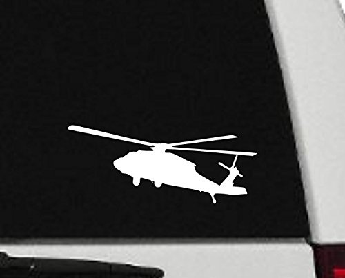 Maxx Graphixx Decal - Helicopter - Blackhawk Helicopter Silhouette Vinyl Decal - Military Car Decal - H3 (2' x 6', White)