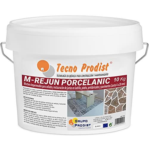 M-REJUN PORCELANIC de Tecno Prodist - (10 kg) Mortero impermeable para el sellado y restauración en pavimentos cerámicos, ladrillos, piedra, etc (Junta de 4 a 20mm) Color Blanco