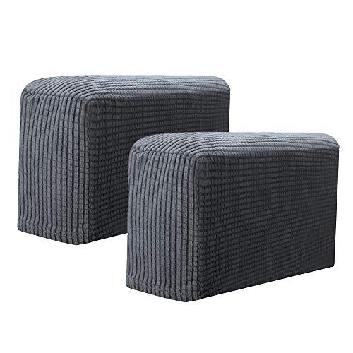 Partyhome 2 Stück abnehmbare Armlehnenbezüge, einfarbig, dehnbar, für Stuhl, Sofa, Couch, Armlehnenschutz (dunkelgrau)