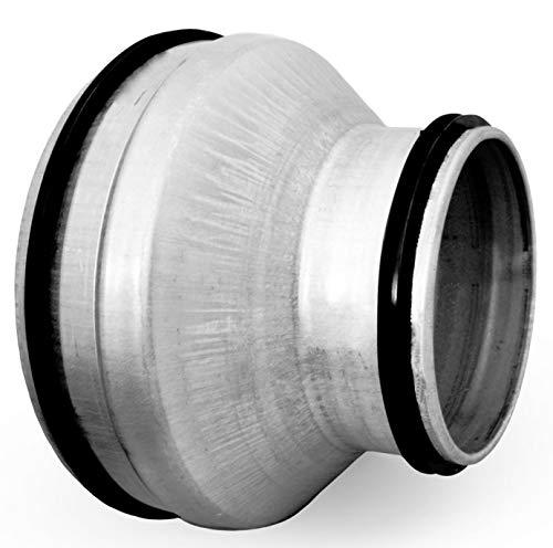 Wickelfalzrohr Bogen Lüftungsgitter Wetterschutzgitter Enddeckel Verbinder (Ø 150 mm auf 100 mm, Reduzierstück)