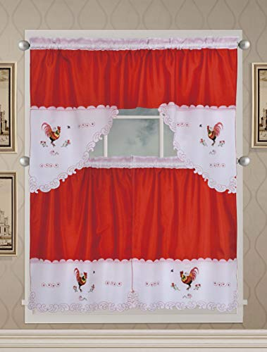 Café Curtains for Kitchen, Bathroom Curtains with Valance and Embroidery (Rooster on Red)