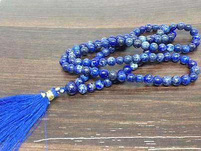 Jet Energized Best Quality Lapis Lazuli Japa Mala Free Booklet jet International Crystal Therapy 6 mm 108 + 1 Prayer A++ Beads