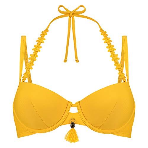 HUNKEMÖLLER Damen Vorgeformtes Bügel-Bikinitop Amanda Queen Gelb 75D