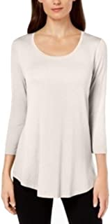 JM Collection Scoop-Neck Top, Eggshell Small