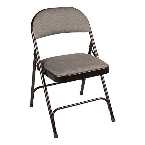 School Outfitters NOR-SRO593-FBK-SO Norwood Commercial Furniture 6600 Series Folding Chair with Upholstered Seat and Back, Grey fabric/Black frame (Pack of 4)