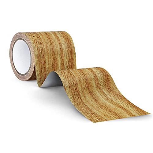 Repair Tape Patch 2.4' X 15' Wood Textured Adhesive for Door Floor Table and Chair(Oak Grain Yellow)