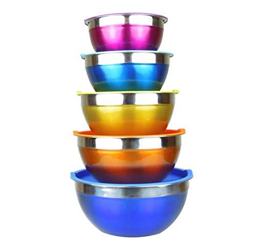 Ciotole di miscelazione in acciaio inossidabile Set di ciotole di nidificazione Premium con coperchi - Set di 5 grandi ciotole da cucina impilabili-1.1, 1.6, 2.2, 2.8, 3.9 litri (Colorata)