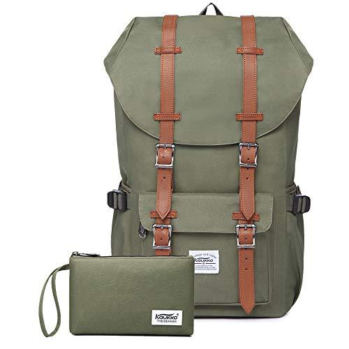 "Travel Laptop Backpack, Outdoor Rucksack, School backpack Fits 15.6""(Nylon Green2pc)"