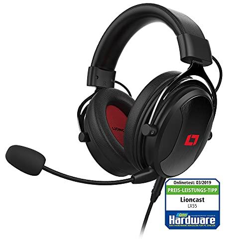 Lioncast Cascos Gaming LX55 - Auriculares con Micrófono, Controladores de Sonido de Neodimio de 50mm, Cable Extraíble, Almohadilla Suave - Compatible con PS5, PS4, Xbox, Switch, Ordenador Portátil