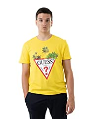 Guess Camiseta Amarilla de Manga Corta para Hombre M0GI76 I3Z00 G2A0