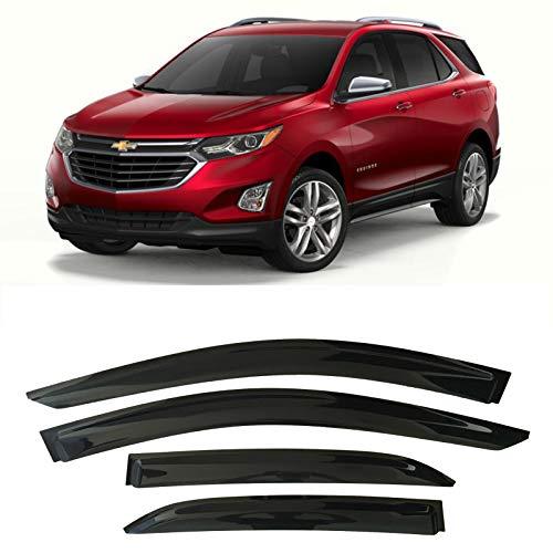 Optimal Co Smoke Tinted Tape-On Side Window Vent Visor Deflectors Rain Guards Compatible with Chevrolet Equinox 2018 2019 2020 2021 L, LS, LT, Premier